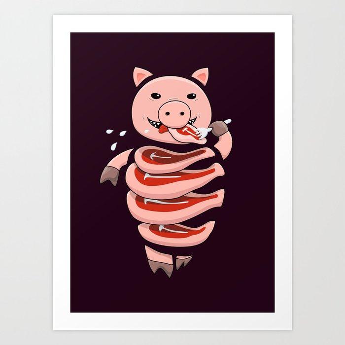Gluttonous Cannibal Pig Art Print