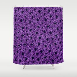 purple,many small and big stars as pattern in shiny metal Shower Curtain
