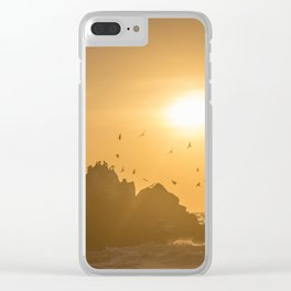 Sunset and Birds Flying Clear iPhone Case