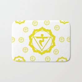 "YELLOW SANSKRIT CHAKRAS  PSYCHIC WHEEL ""STRIVE"" Bath Mat"