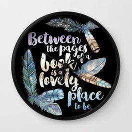 Between The Pages - Feathery Black Wall Clock