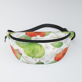 Watercolor green and red apples. Fruits garden illustration pattern. Kitchen botanical art Fanny Pack