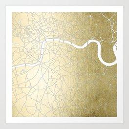 Gold on White London Street Map II Art Print