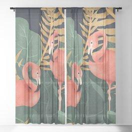 Two Flamingos Sheer Curtain
