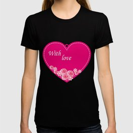 pink heart with roses T-shirt