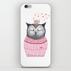 Owl lover of coffee iPhone & iPod Skin