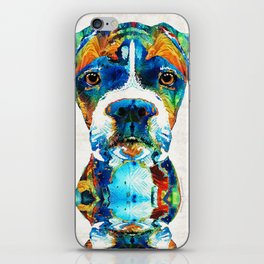 Colorful Boxer Dog Art By Sharon Cummings iPhone Skin