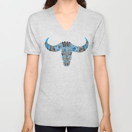 Water Buffalo Skull – Black & Blue Unisex V-Neck