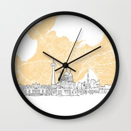 Tallinn Estonia Skyline Map Wall Clock