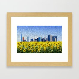 New York City Skyline Oil Paint View from Sunflower Field Framed Art Print