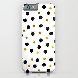 Black & Gold Glitter Confetti on white background- Elegant pattern iPhone Case