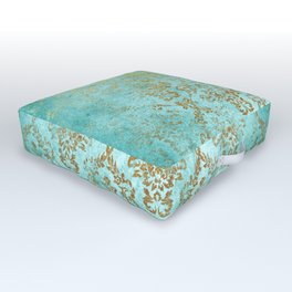 Mermaid Gold Aqua Seafoam Damask Outdoor Floor Cushion