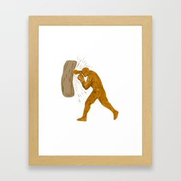 Boxer Punching Bag Drawing Framed Art Print