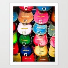 Colorful Wooden Guitars Art Print