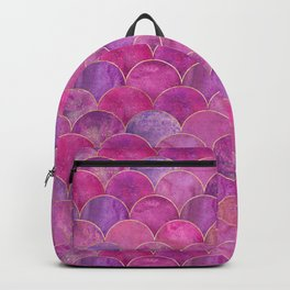 Beautiful Art Magenta Deco Marble Shimmer Mermaid Scales Gold Trim Seamless Pattern Backpack