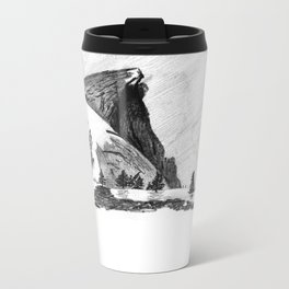 Drawing of Half-Dome in Yosemite from the north Metal Travel Mug