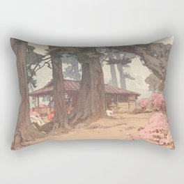 Hiroshi Yoshida, Tea House In Azalea Garden - Vintage Japanese Woodblock Print Art Rectangular Pillow