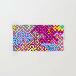 Abstract Psychedelic Pop Art Truchet Tile Pattern Hand & Bath Towel