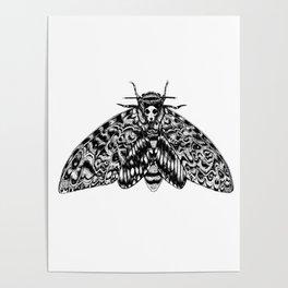 Death's Head Hawk Moth with Cat Skull Poster