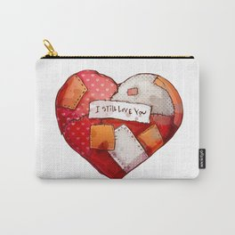 Heart with patches. Valentines day illustration. Carry-All Pouch