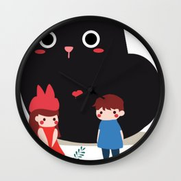 Cat And Children Wall Clock