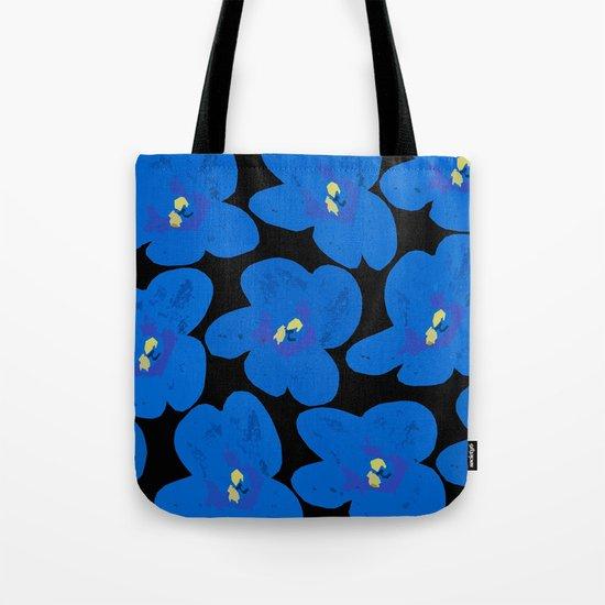 Blue Retro Flowers on Black Background Tote Bag