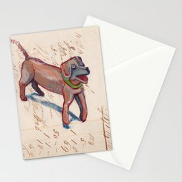 Vintage Metal Dogs with Spring Tails in Mixed Media Stationery Cards