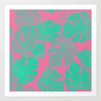 Linocut Monstera Pink Art Print