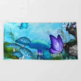 Mystic Whimsey Butterfly Pond Fantasy Beach Towel
