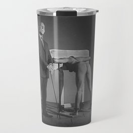 Pillory - Naked woman locked in a wooden pillory Travel Mug