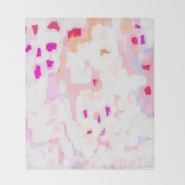 Netta - abstract painting pink pastel bright happy modern home office dorm college decor Throw Blanket