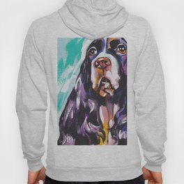 fun English Springer Spaniel bright colorful Pop Art painting by Lea Hoody