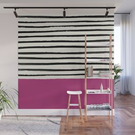 Raspberry x Stripes Wall Mural