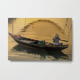 Boat on the River at Sunset Metal Print