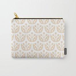 Mid Century Modern Flower Pattern 733 Beige Carry-All Pouch