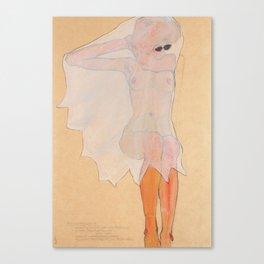 """Seated Female Nude Ghost"" / Egon Schiele Canvas Print"
