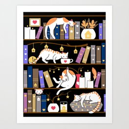 Library cats - fossil grey Art Print