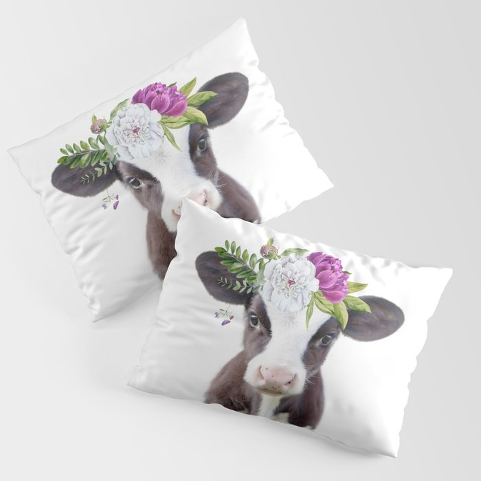 Baby Cow with Flower Crown Kissenbezug