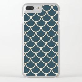 Dark Blue & Beige Fish Scales Pattern Clear iPhone Case