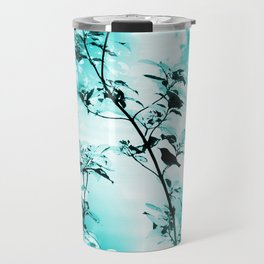 Silhouette of songbird on a branch in turquoise variation #decor #society6 Travel Mug