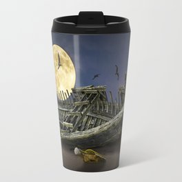 Moon and Wooden Shipwreck with Gulls Travel Mug