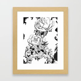Peonies and Mirror Framed Art Print