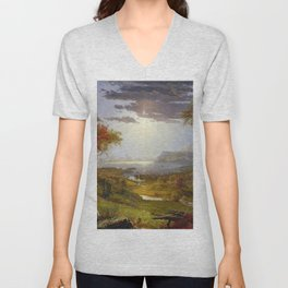 Autumn & Rays of Sun in the Hudson River Valley by Jasper Francis Cropsey Unisex V-Neck
