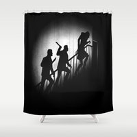 crowley Shower Curtains featuring The Nosferatu Hunters by Six Eyed Monster