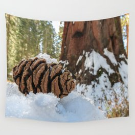 Sequoia Cone in Snow Wall Tapestry