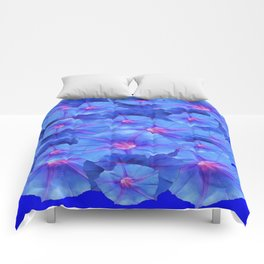 Blue Morning Glories  Floral Collage Pattern Abstract Comforters