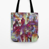 "flora bowley Tote Bags featuring ""Manifest"" Original Painting by Flora Bowley by Flora Bowley"