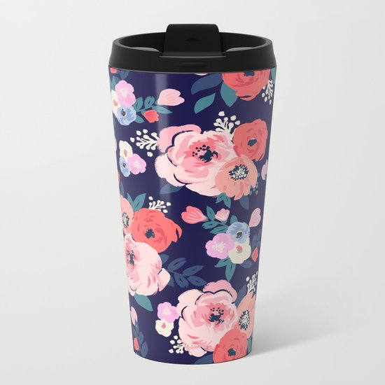 Aurora Floral Metal Travel Mug