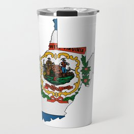 West Virginia Map with State Flag Travel Mug
