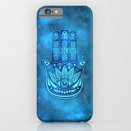 Hamsa Hand Magic Eye Blue Watercolor Art iPhone Case